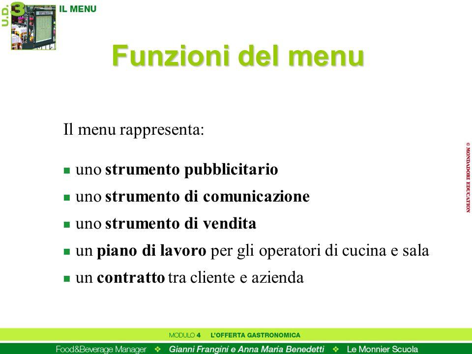 Funzioni del menu Il menu rappresenta: n uno strumento pubblicitario n uno strumento di comunicazione n uno strumento di vendita n un piano di lavoro