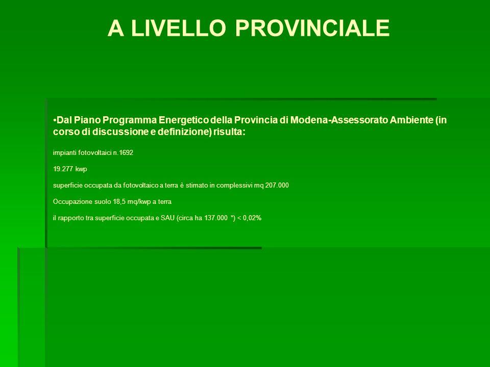 A LIVELLO PROVINCIALE Dal Piano Programma Energetico della Provincia di Modena-Assessorato Ambiente (in corso di discussione e definizione) risulta: i