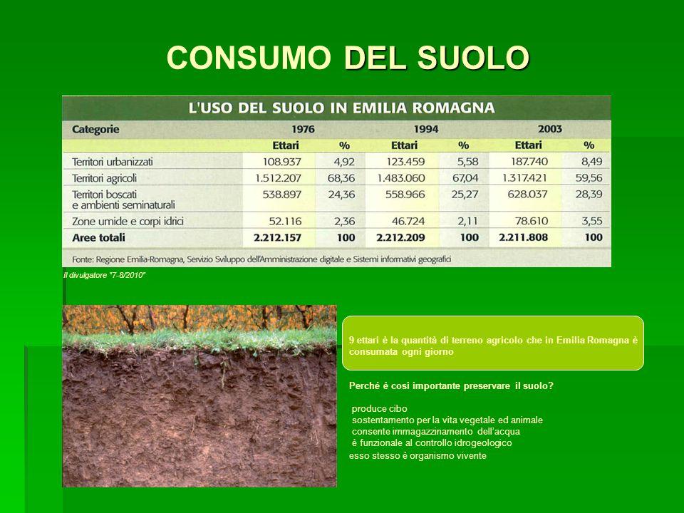 DEL SUOLO CONSUMO DEL SUOLO 9 ettari è la quantità di terreno agricolo che in Emilia Romagna è consumata ogni giorno Perché è così importante preserva