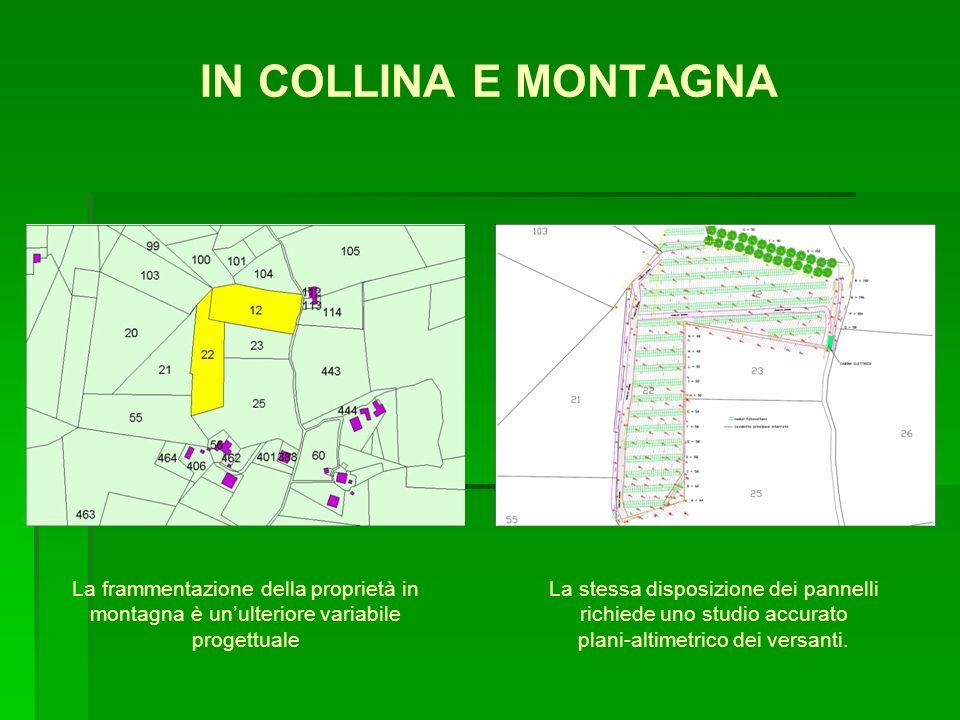 IN COLLINA E MONTAGNA La frammentazione della proprietà in montagna è unulteriore variabile progettuale La stessa disposizione dei pannelli richiede u