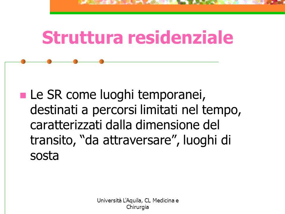 Università L'Aquila, CL Medicina e Chirurgia Struttura residenziale Le SR come luoghi temporanei, destinati a percorsi limitati nel tempo, caratterizz