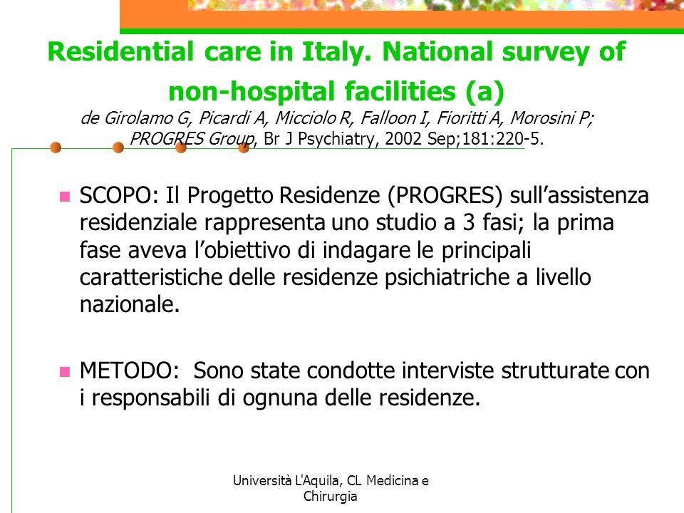Università L'Aquila, CL Medicina e Chirurgia Residential care in Italy. National survey of non-hospital facilities (a) de Girolamo G, Picardi A, Micci