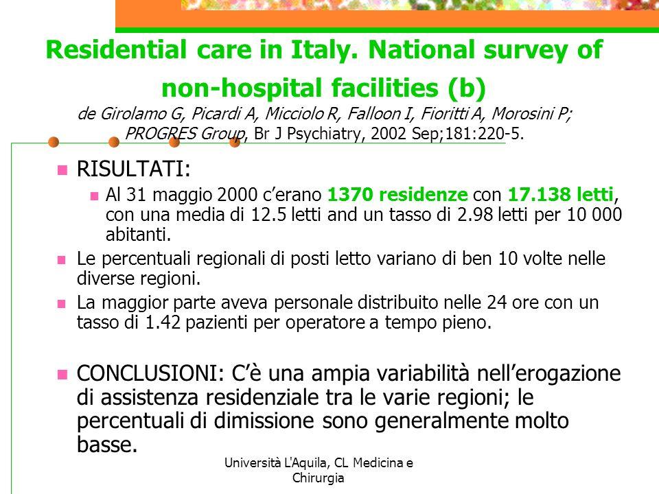 Università L'Aquila, CL Medicina e Chirurgia Residential care in Italy. National survey of non-hospital facilities (b) de Girolamo G, Picardi A, Micci