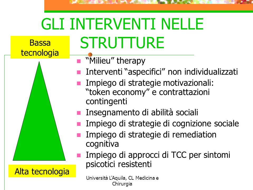 Università L'Aquila, CL Medicina e Chirurgia GLI INTERVENTI NELLE STRUTTURE Milieu therapy Interventi aspecifici non individualizzati Impiego di strat