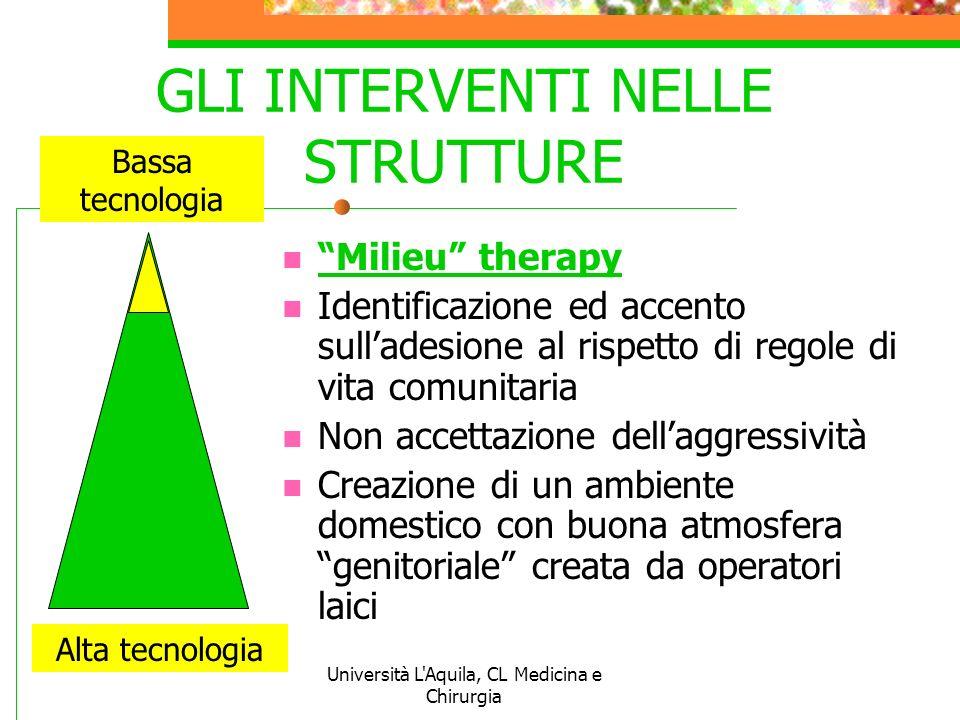 Università L'Aquila, CL Medicina e Chirurgia GLI INTERVENTI NELLE STRUTTURE Milieu therapy Identificazione ed accento sulladesione al rispetto di rego