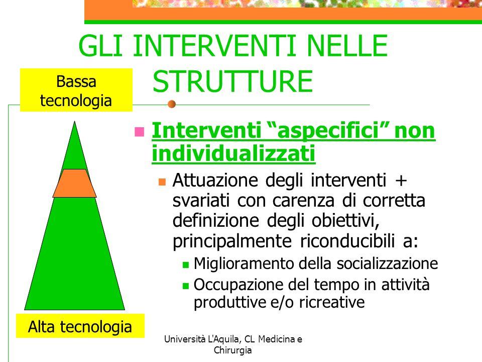 Università L'Aquila, CL Medicina e Chirurgia GLI INTERVENTI NELLE STRUTTURE Interventi aspecifici non individualizzati Attuazione degli interventi + s