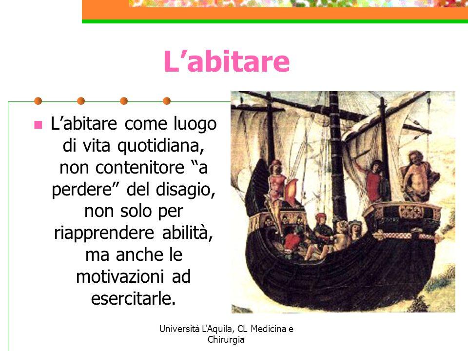 Università L'Aquila, CL Medicina e Chirurgia Labitare Labitare come luogo di vita quotidiana, non contenitore a perdere del disagio, non solo per riap