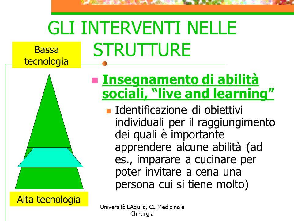 Università L'Aquila, CL Medicina e Chirurgia GLI INTERVENTI NELLE STRUTTURE Insegnamento di abilità sociali, live and learning Identificazione di obie
