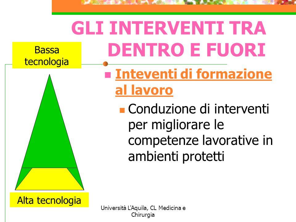Università L'Aquila, CL Medicina e Chirurgia GLI INTERVENTI TRA DENTRO E FUORI Inteventi di formazione al lavoro Conduzione di interventi per migliora