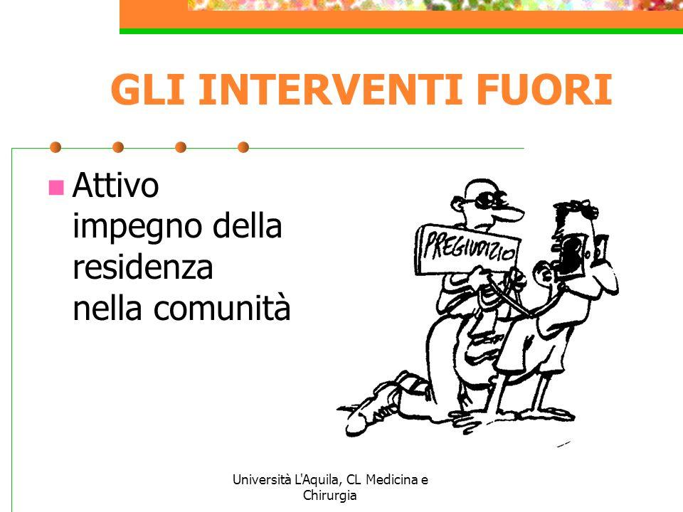 Università L'Aquila, CL Medicina e Chirurgia GLI INTERVENTI FUORI Attivo impegno della residenza nella comunità