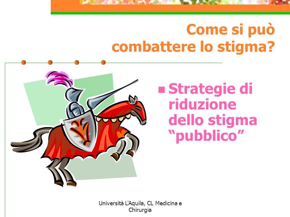 Università L'Aquila, CL Medicina e Chirurgia Come si può combattere lo stigma? Strategie di riduzione dello stigma pubblico