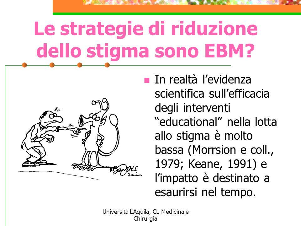 Università L'Aquila, CL Medicina e Chirurgia Le strategie di riduzione dello stigma sono EBM? In realtà levidenza scientifica sullefficacia degli inte