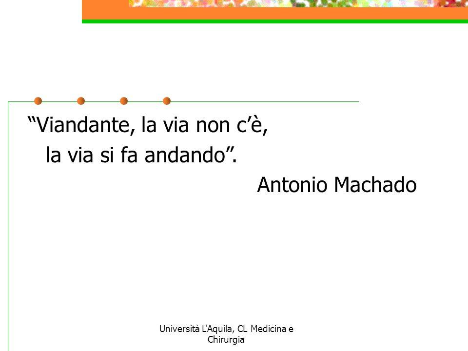 Università L'Aquila, CL Medicina e Chirurgia Viandante, la via non cè, la via si fa andando. Antonio Machado