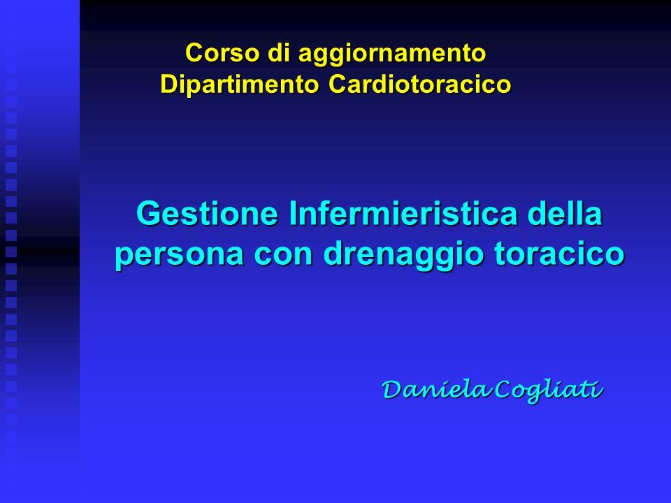 Gestione Infermieristica della persona con drenaggio toracico Daniela Cogliati Corso di aggiornamento Dipartimento Cardiotoracico