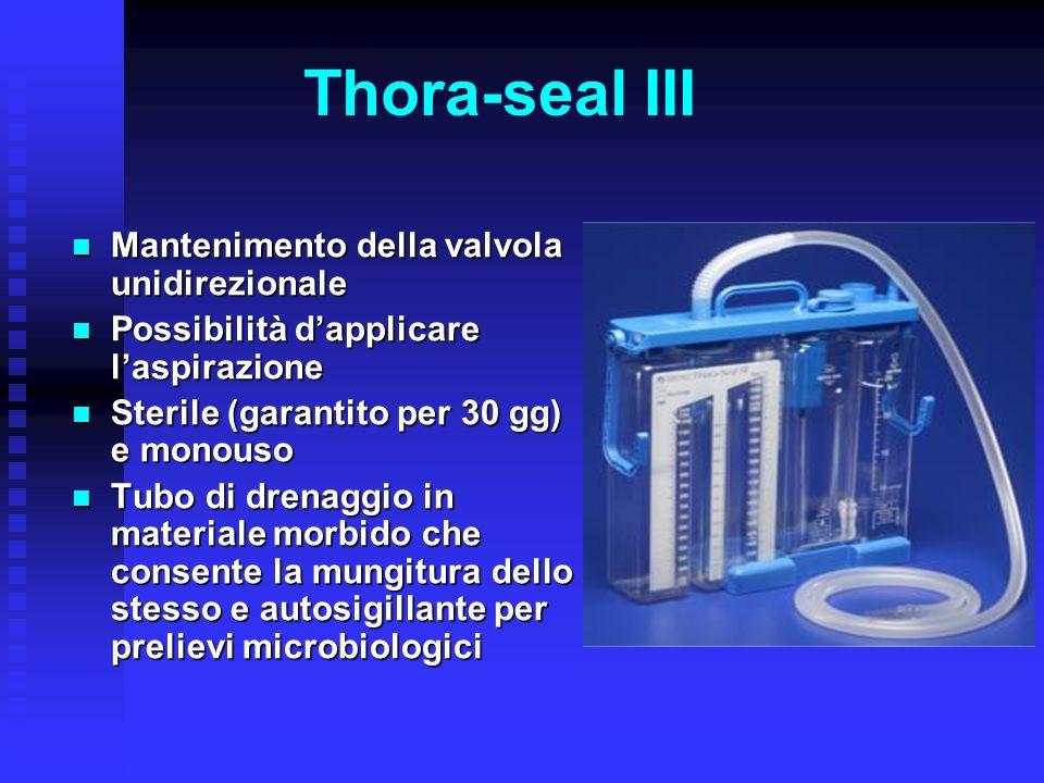 Thora-seal III Mantenimento della valvola unidirezionale Mantenimento della valvola unidirezionale Possibilità dapplicare laspirazione Possibilità dap