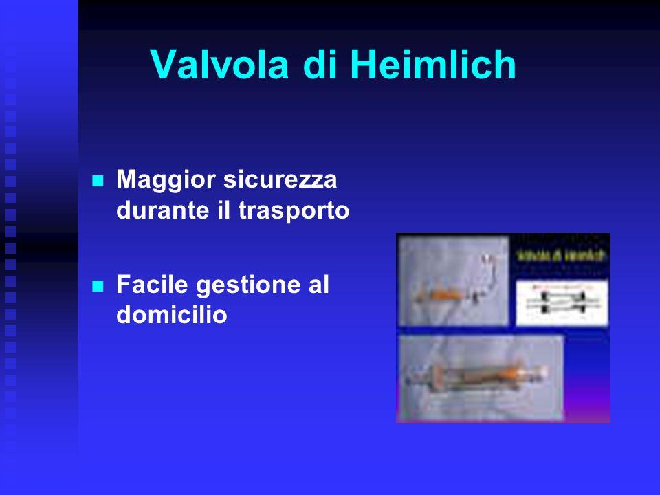 Valvola di Heimlich Maggior sicurezza durante il trasporto Facile gestione al domicilio