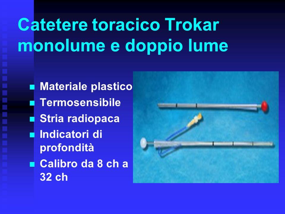 Catetere toracico Trokar monolume e doppio lume Materiale plastico Termosensibile Stria radiopaca Indicatori di profondità Calibro da 8 ch a 32 ch