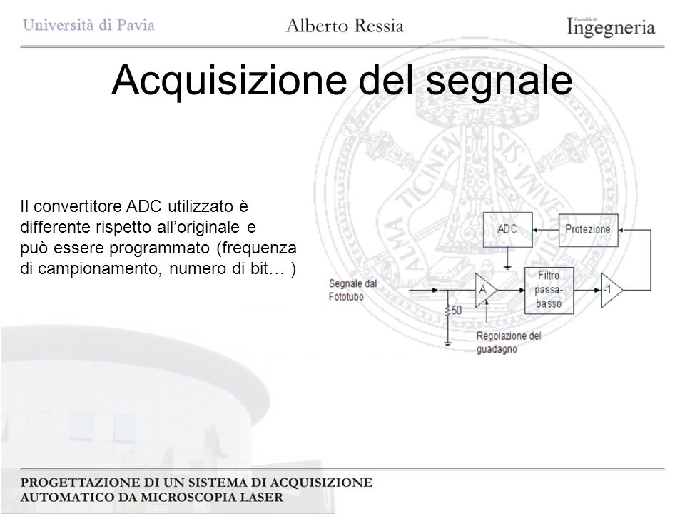 Acquisizione del segnale Il convertitore ADC utilizzato è differente rispetto alloriginale e può essere programmato (frequenza di campionamento, numer