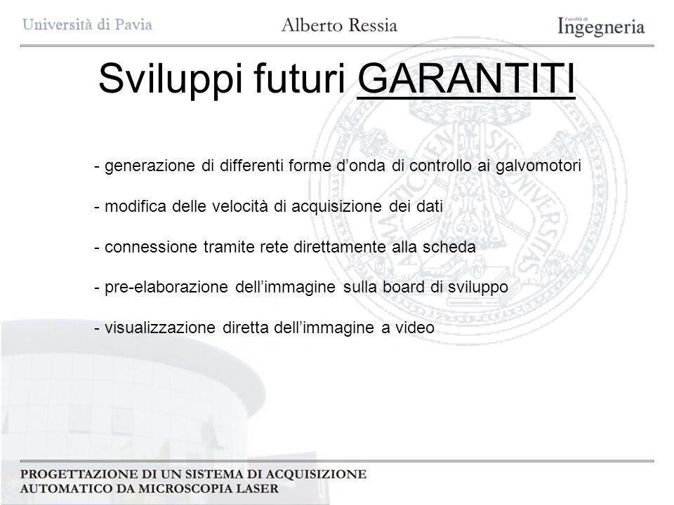 Sviluppi futuri GARANTITI - generazione di differenti forme donda di controllo ai galvomotori - modifica delle velocità di acquisizione dei dati - con