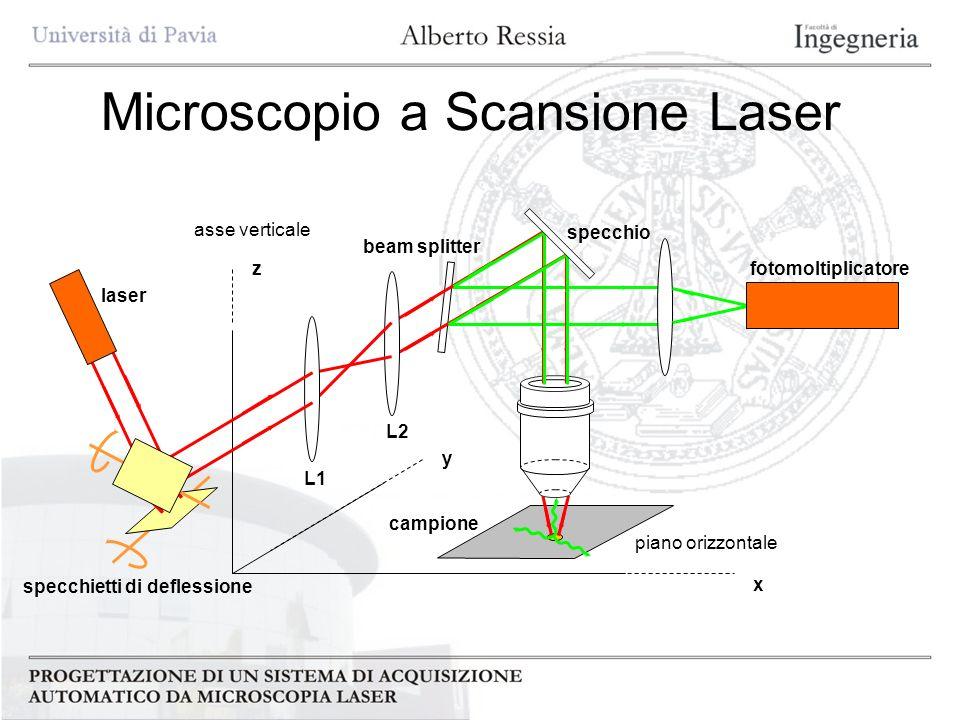 Microscopio a Scansione Laser campione piano orizzontale beam splitter L2 L1 laser fotomoltiplicatore asse verticale specchietti di deflessione x y z