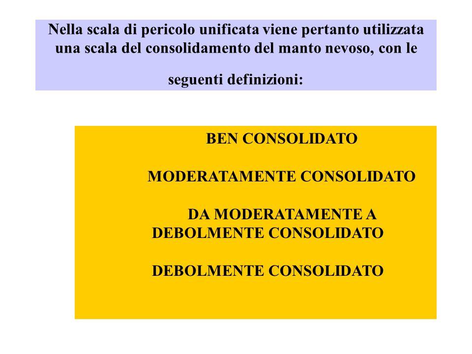 Nella scala di pericolo unificata viene pertanto utilizzata una scala del consolidamento del manto nevoso, con le seguenti definizioni: BEN CONSOLIDAT