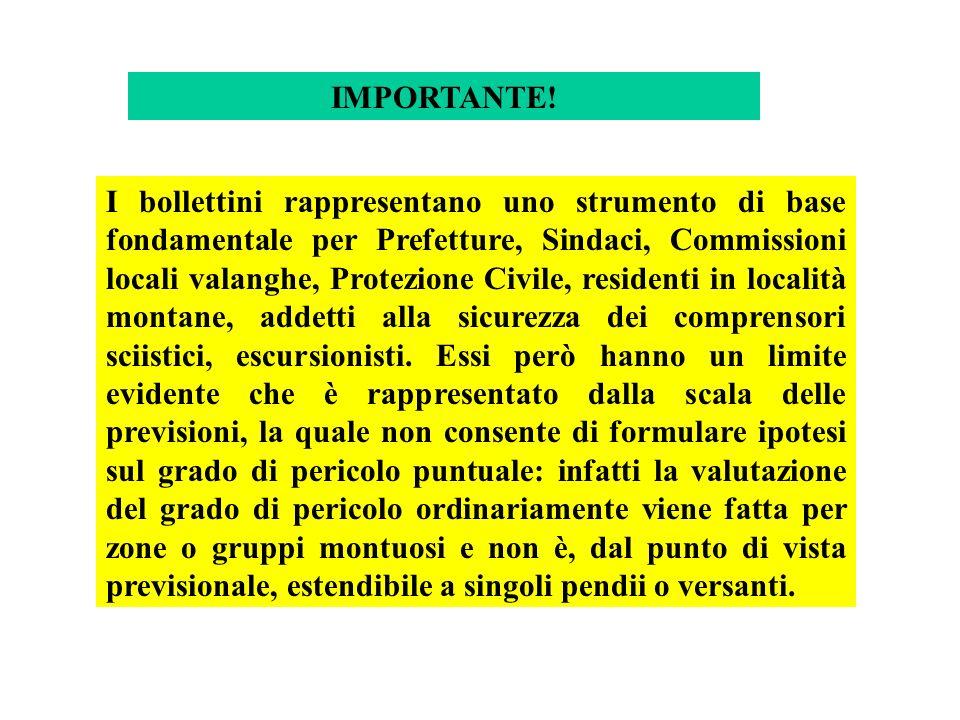 I bollettini rappresentano uno strumento di base fondamentale per Prefetture, Sindaci, Commissioni locali valanghe, Protezione Civile, residenti in lo