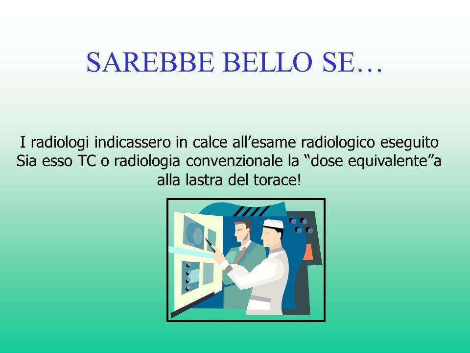 SAREBBE BELLO SE… I radiologi indicassero in calce allesame radiologico eseguito Sia esso TC o radiologia convenzionale la dose equivalentea alla last