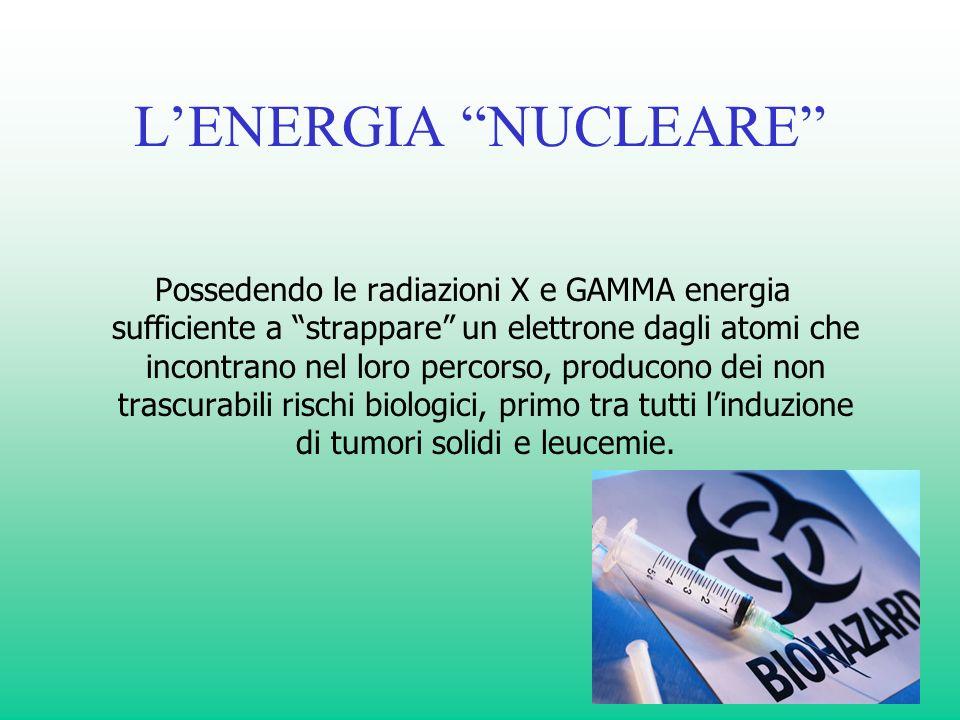 LENERGIA NUCLEARE Possedendo le radiazioni X e GAMMA energia sufficiente a strappare un elettrone dagli atomi che incontrano nel loro percorso, produc