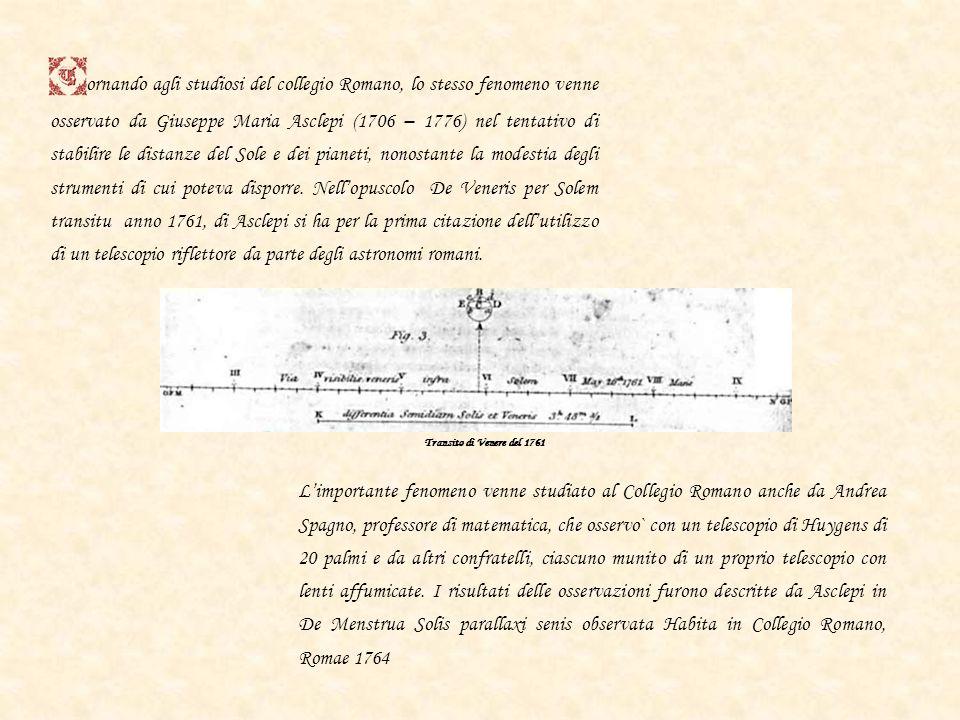 Giovanni Battista Audiffredi (1714 – 1794) udiffredi raggiunse particolare notorietà per il lavoro relativo al passaggio di Venere sul disco solare de