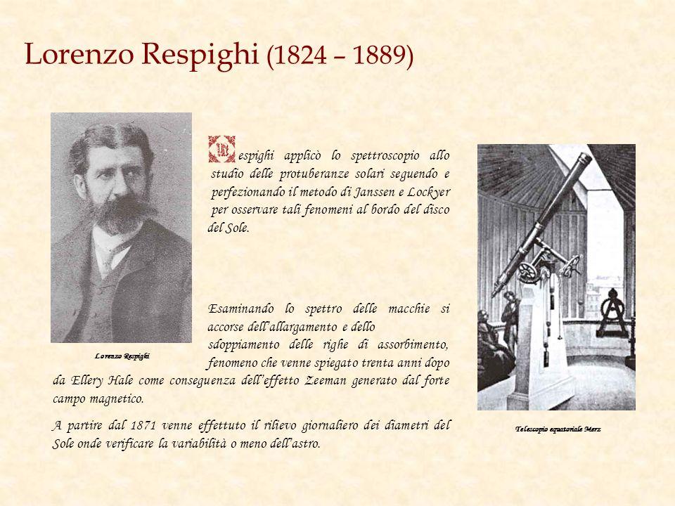 Angelo Secchi (1818 – 1878) adre Angelo Secchi fu uno dei maggiori astrofisici dellOttocento. Eseguì infatti le prime analisi delle radiazioni del dis