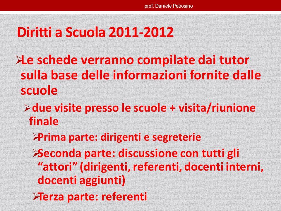 prof. Daniele Petrosino Diritti a Scuola 2011-2012 Le schede verranno compilate dai tutor sulla base delle informazioni fornite dalle scuole due visit
