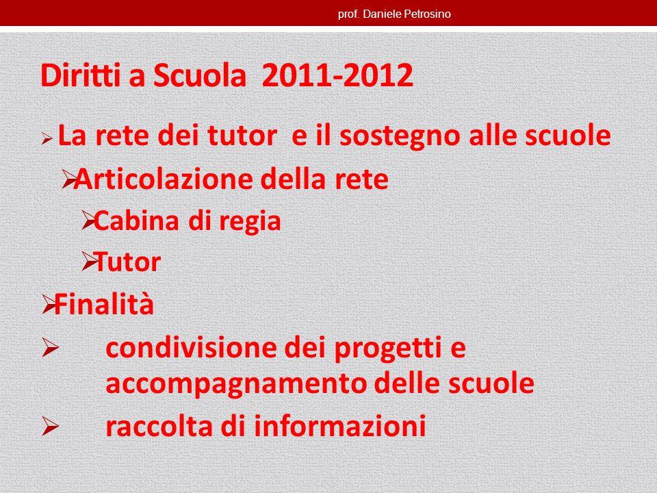 prof. Daniele Petrosino Diritti a Scuola 2011-2012 La rete dei tutor e il sostegno alle scuole Articolazione della rete Cabina di regia Tutor Finalità