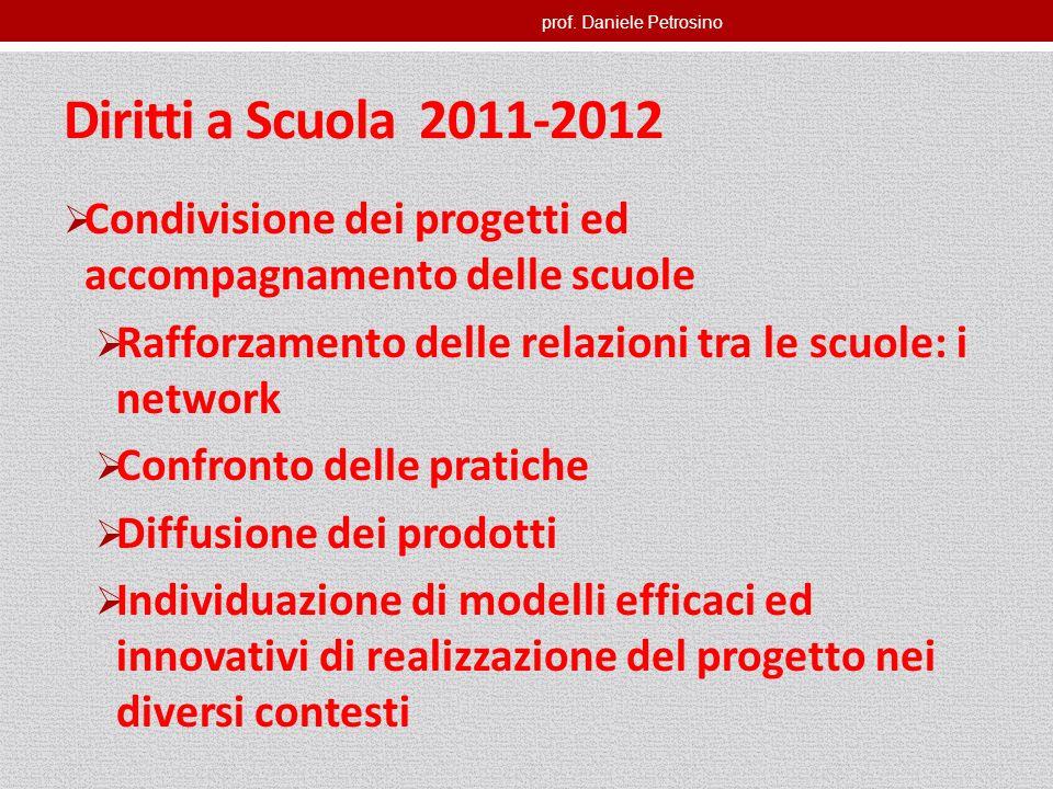 prof. Daniele Petrosino Diritti a Scuola 2011-2012 Condivisione dei progetti ed accompagnamento delle scuole Rafforzamento delle relazioni tra le scuo