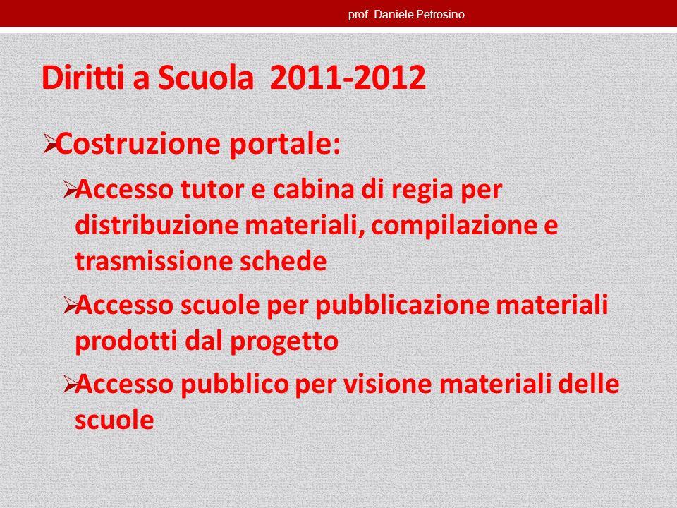 prof. Daniele Petrosino Diritti a Scuola 2011-2012 Costruzione portale: Accesso tutor e cabina di regia per distribuzione materiali, compilazione e tr