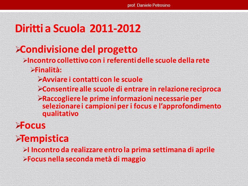 prof. Daniele Petrosino Diritti a Scuola 2011-2012 Condivisione del progetto Incontro collettivo con i referenti delle scuole della rete Finalità: Avv