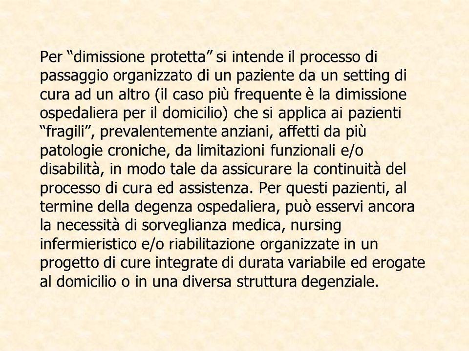 Per dimissione protetta si intende il processo di passaggio organizzato di un paziente da un setting di cura ad un altro (il caso più frequente è la d