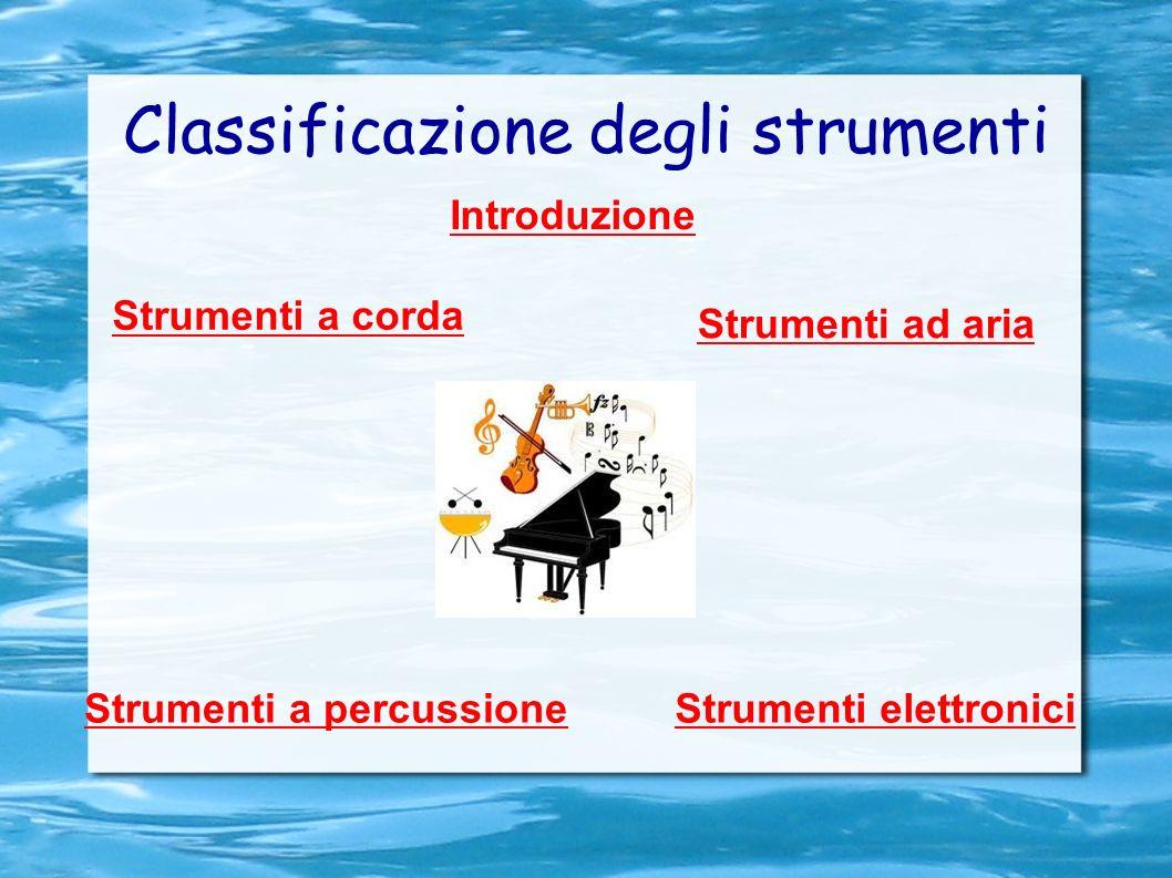 Classificazione degli strumenti Strumenti ad aria Strumenti a corda Strumenti a percussioneStrumenti elettronici Introduzione