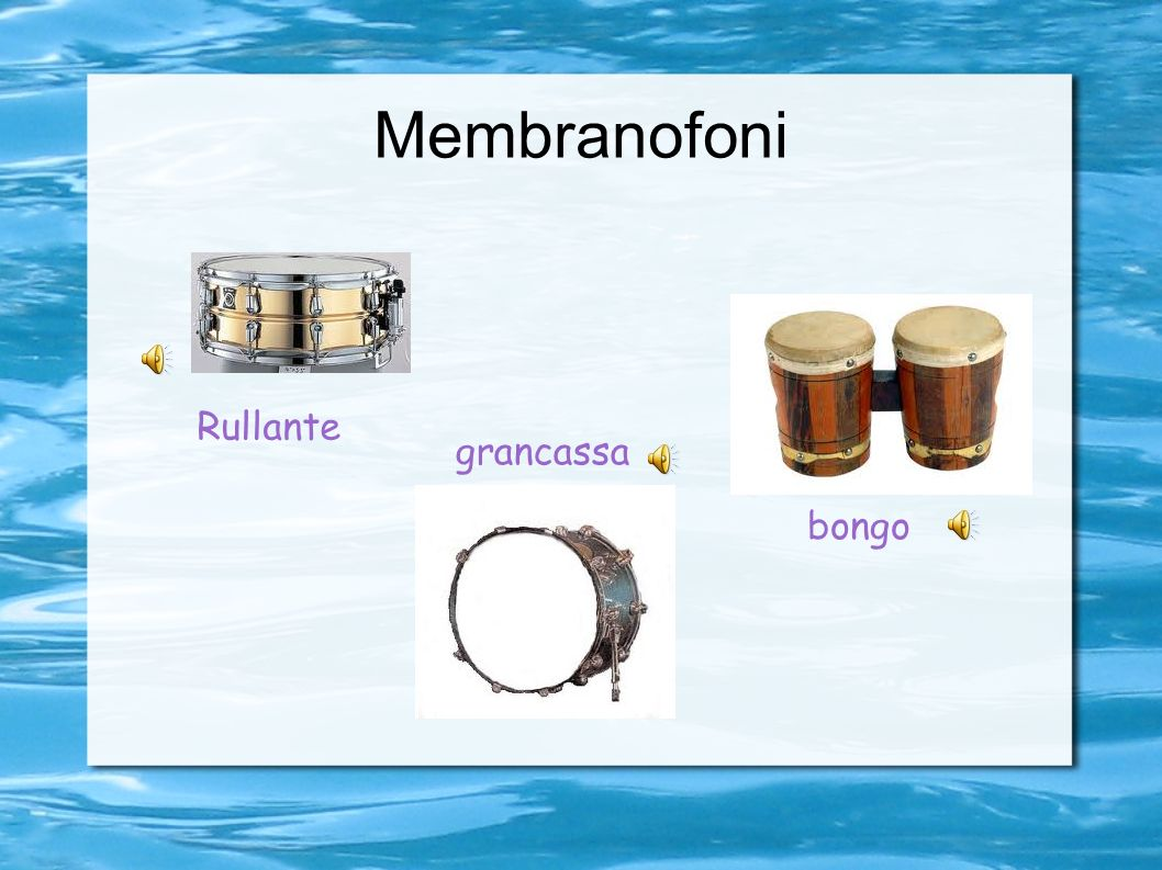 Strumenti a percussione Come dice il nome, gli strumenti a percussione vengono suonati percuotendoli. Ci sono strumenti a percussione che sono costitu