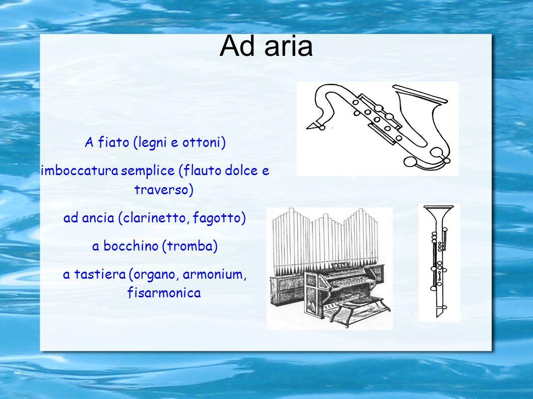 Ad aria A fiato (legni e ottoni) imboccatura semplice (flauto dolce e traverso) ad ancia (clarinetto, fagotto) a bocchino (tromba) a tastiera (organo, armonium, fisarmonica