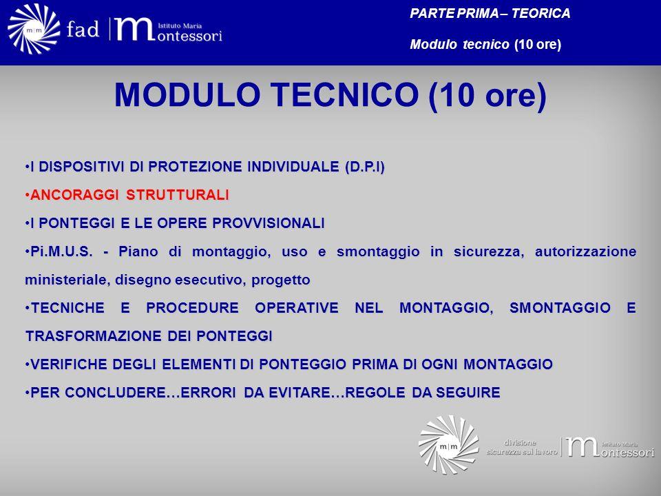 MODULO TECNICO (10 ore) I DISPOSITIVI DI PROTEZIONE INDIVIDUALE (D.P.I)I DISPOSITIVI DI PROTEZIONE INDIVIDUALE (D.P.I) ANCORAGGI STRUTTURALIANCORAGGI STRUTTURALI I PONTEGGI E LE OPERE PROVVISIONALII PONTEGGI E LE OPERE PROVVISIONALI Pi.M.U.S.