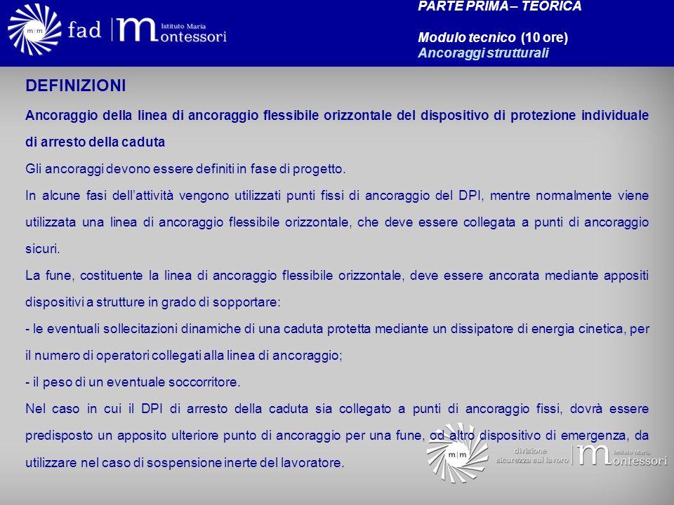 PROCEDURE E TECNICHE OPERATIVE PER IL COLLEGAMENTO DELLA LINEA DI ANCORAGGIO DEL D.P.I.