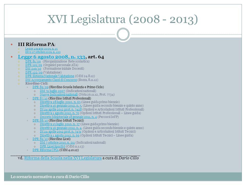 XVI Legislatura (2008 - 2013) Lo scenario normativo a cura di Dario Cillo III Riforma PA : Legge 4 marzo 2009, n. 15 Dlvo 27 ottobre 2009, n. 150 Legg