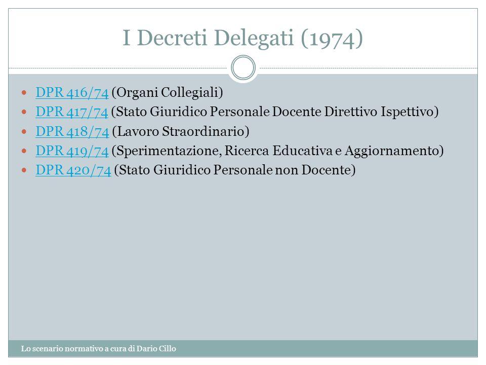 I Decreti Delegati (1974) Lo scenario normativo a cura di Dario Cillo DPR 416/74 (Organi Collegiali) DPR 416/74 DPR 417/74 (Stato Giuridico Personale