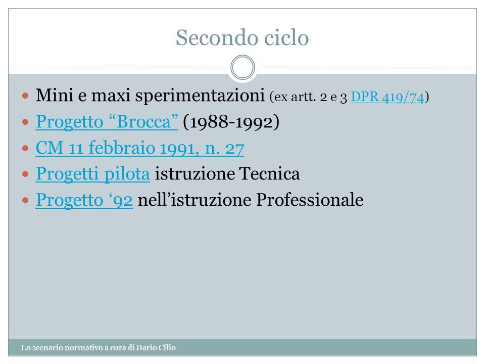 Secondo ciclo Lo scenario normativo a cura di Dario Cillo Mini e maxi sperimentazioni (ex artt. 2 e 3 DPR 419/74)DPR 419/74 Progetto Brocca (1988-1992