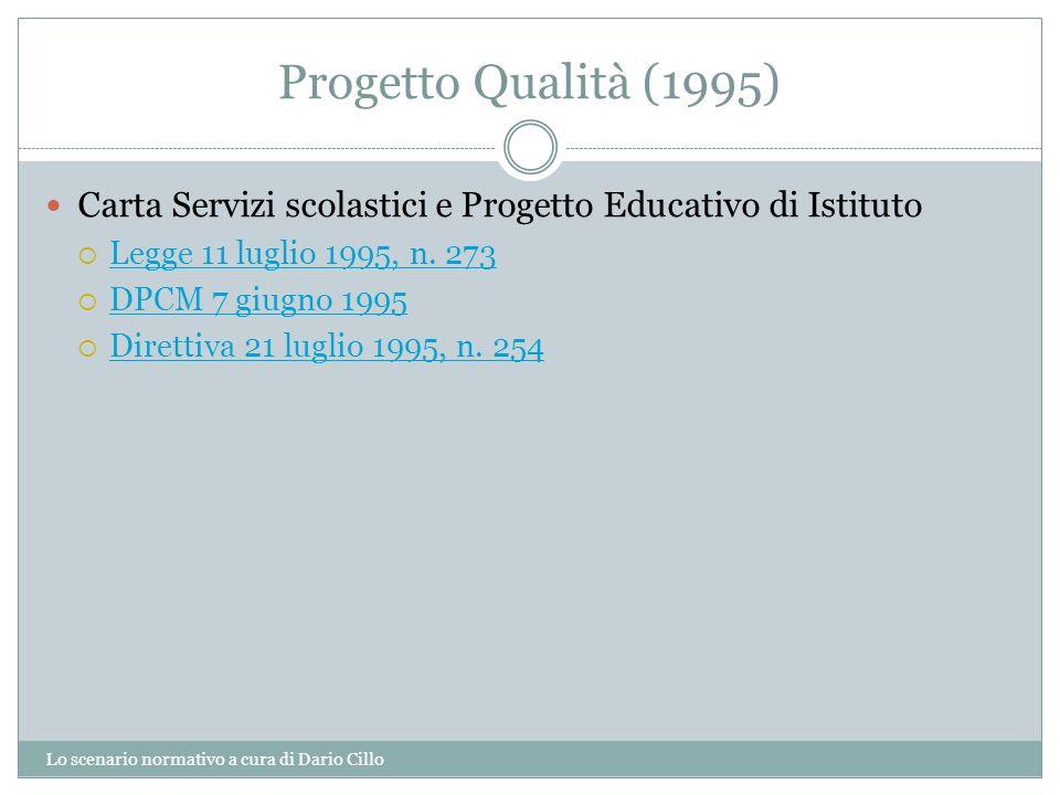 Progetto Qualità (1995) Lo scenario normativo a cura di Dario Cillo Carta Servizi scolastici e Progetto Educativo di Istituto Legge 11 luglio 1995, n.
