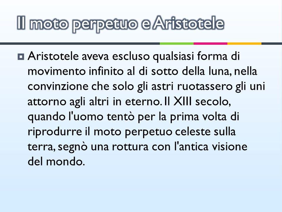 Aristotele aveva escluso qualsiasi forma di movimento infinito al di sotto della luna, nella convinzione che solo gli astri ruotassero gli uni attorno