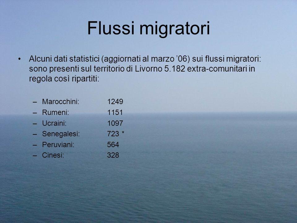 Flussi migratori Alcuni dati statistici (aggiornati al marzo 06) sui flussi migratori: sono presenti sul territorio di Livorno 5.182 extra-comunitari
