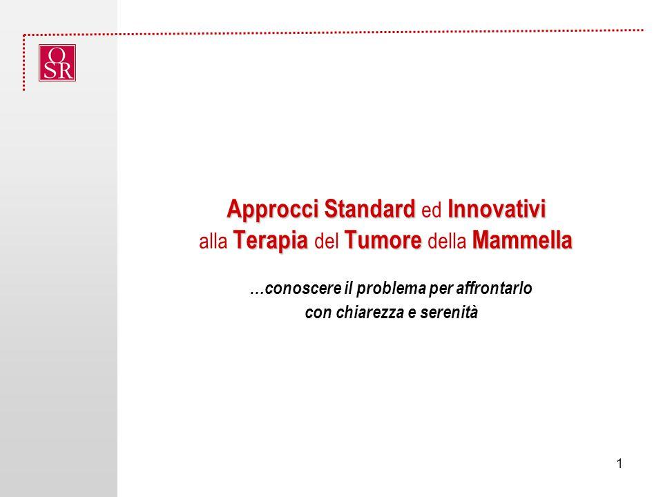 Approcci Standard Innovativi Terapia Tumore Mammella Approcci Standard ed Innovativi alla Terapia del Tumore della Mammella …conoscere il problema per affrontarlo con chiarezza e serenità 1