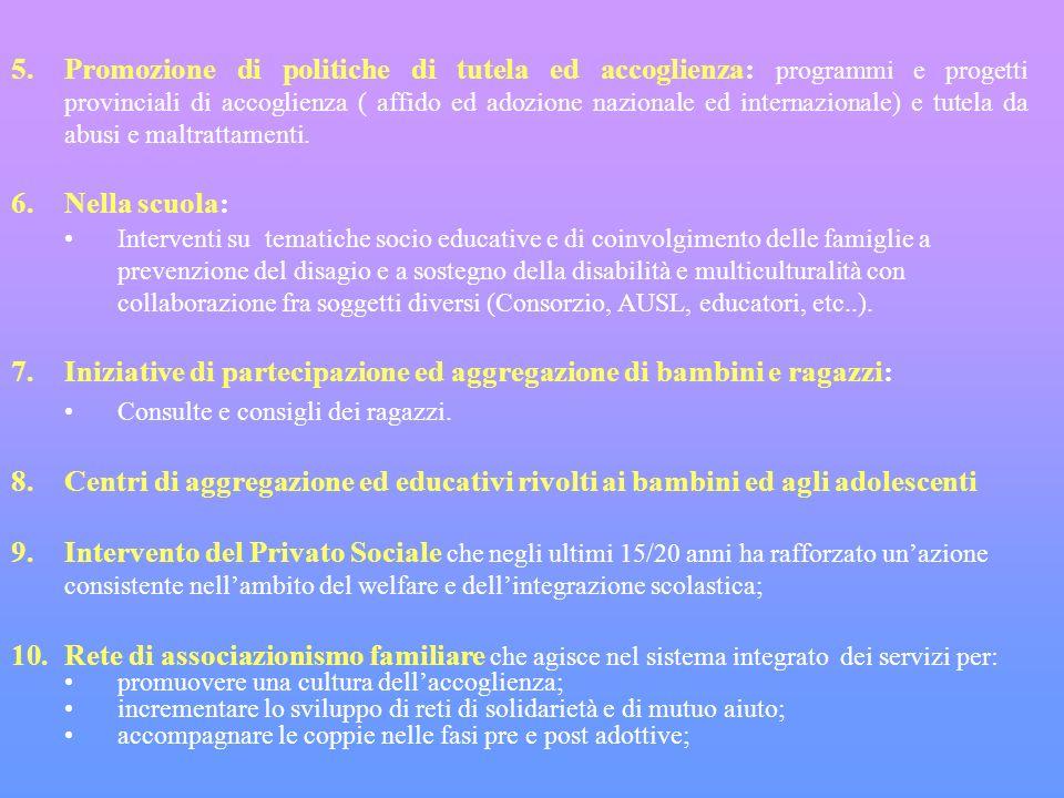 5.Promozione di politiche di tutela ed accoglienza: programmi e progetti provinciali di accoglienza ( affido ed adozione nazionale ed internazionale) e tutela da abusi e maltrattamenti.