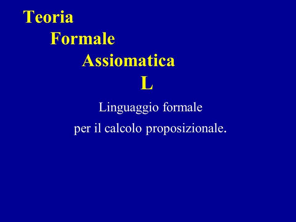 Teoria Formale Assiomatica L Linguaggio formale per il calcolo proposizionale.